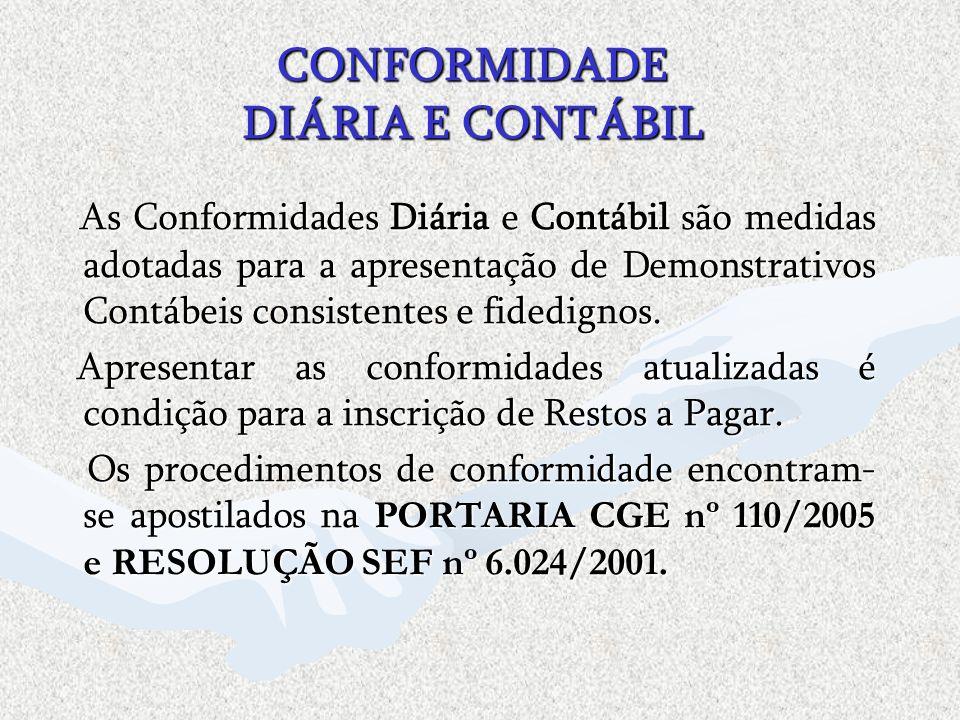 CONFORMIDADE DIÁRIA E CONTÁBIL As Conformidades Diária e Contábil são medidas adotadas para a apresentação de Demonstrativos Contábeis consistentes e