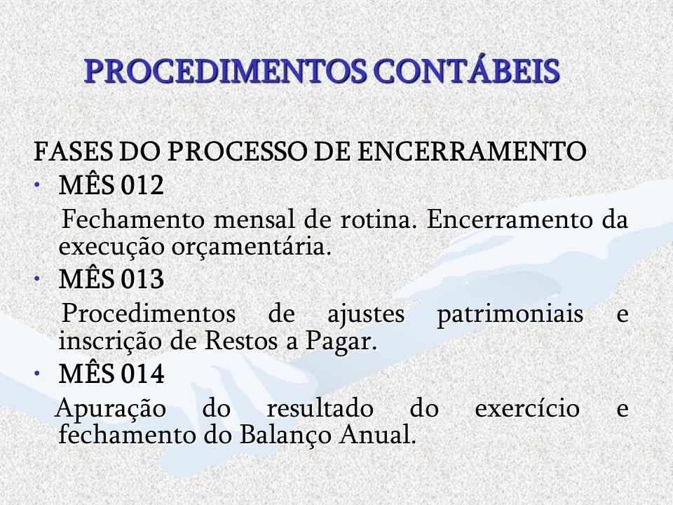 PROCEDIMENTOS CONTÁBEIS FASES DO PROCESSO DE ENCERRAMENTO MÊS 012MÊS 012 Fechamento mensal de rotina. Encerramento da execução orçamentária. Fechament