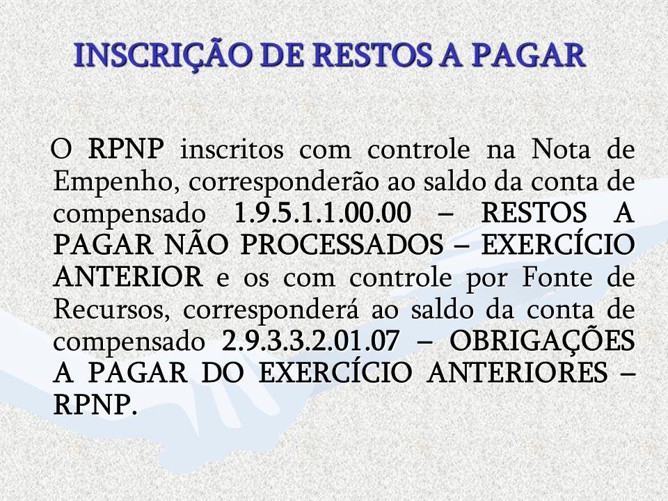 INSCRIÇÃO DE RESTOS A PAGAR O RPNP inscritos com controle na Nota de Empenho, corresponderão ao saldo da conta de compensado 1.9.5.1.1.00.00 – RESTOS