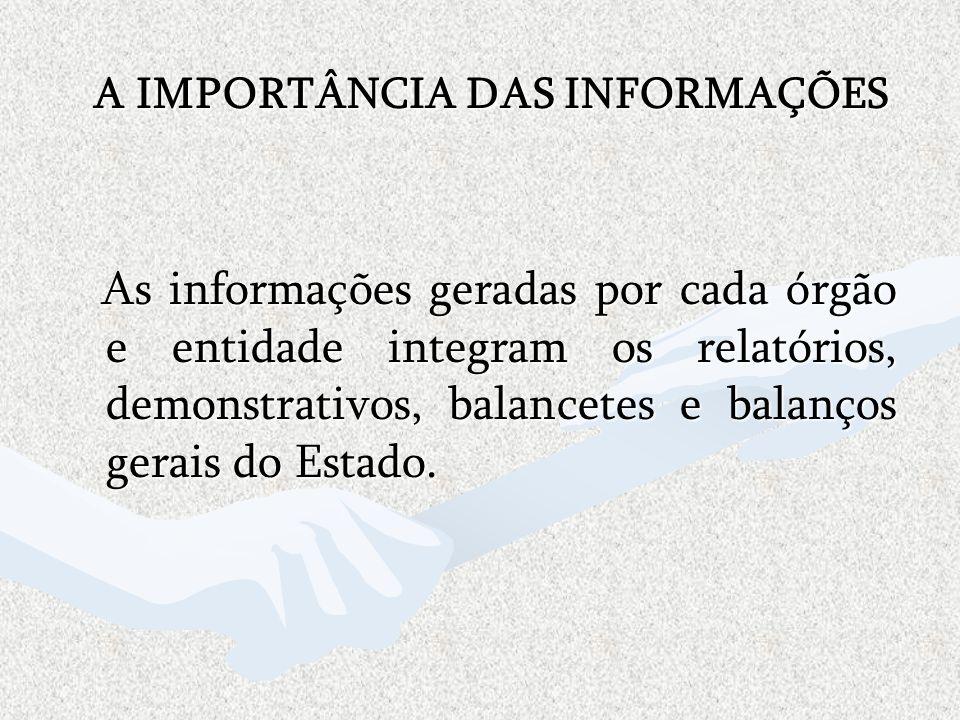 A IMPORTÂNCIA DAS INFORMAÇÕES As informações geradas por cada órgão e entidade integram os relatórios, demonstrativos, balancetes e balanços gerais do