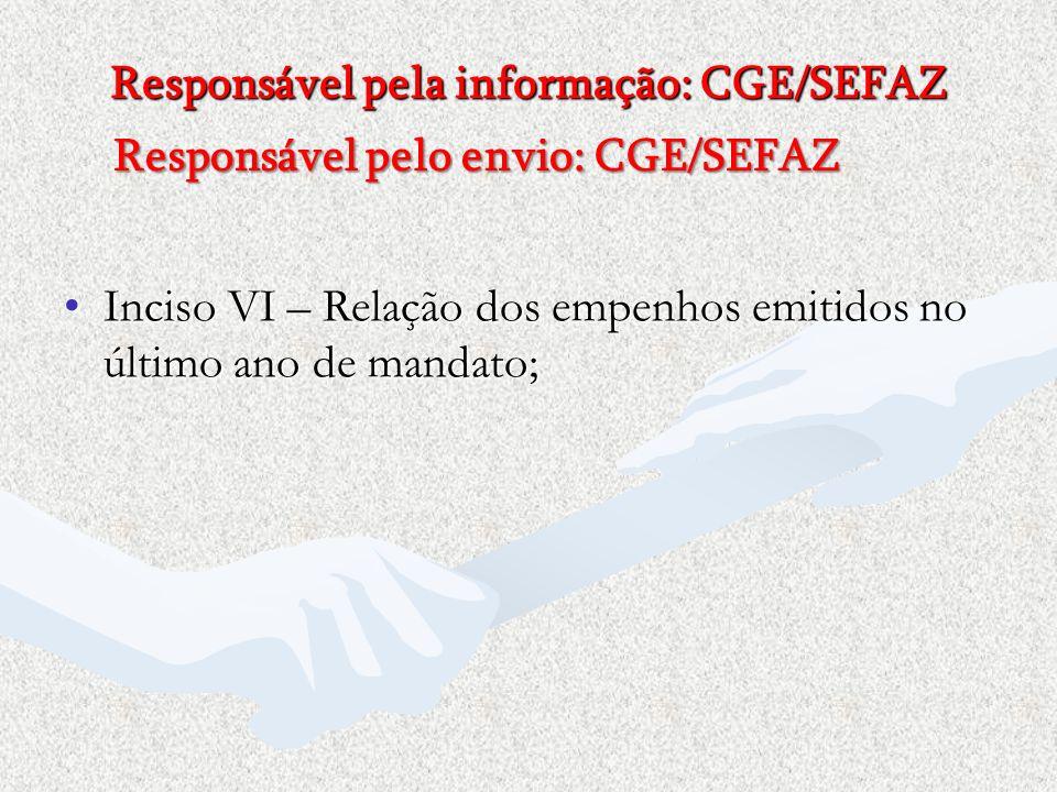 Inciso VI – Relação dos empenhos emitidos no último ano de mandato;Inciso VI – Relação dos empenhos emitidos no último ano de mandato; Responsável pel