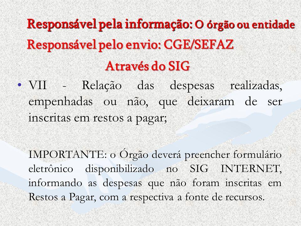 Responsável pela informação: O órgão ou entidade Responsável pelo envio: CGE/SEFAZ Através do SIG VII - Relação das despesas realizadas, empenhadas ou
