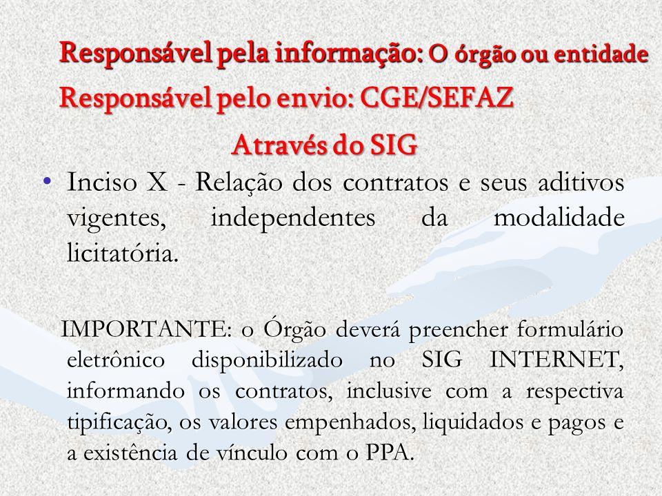 Responsável pela informação: O órgão ou entidade Responsável pelo envio: CGE/SEFAZ Através do SIG Inciso X - Relação dos contratos e seus aditivos vig