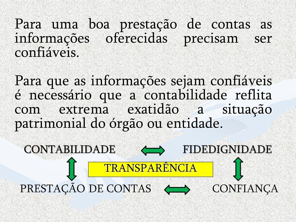 CONTABILIDADE FIDEDIGNIDADE Para uma boa prestação de contas as informações oferecidas precisam ser confiáveis. Para que as informações sejam confiáve