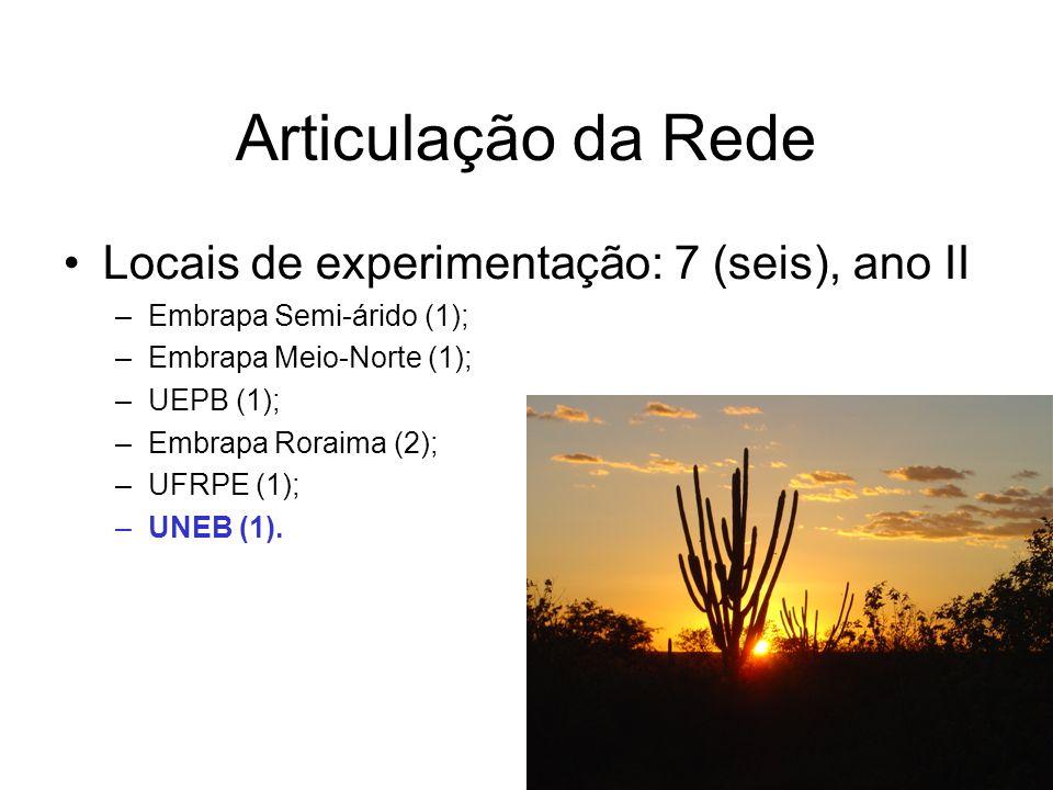 Locais de experimentação: 7 (seis), ano II –Embrapa Semi-árido (1); –Embrapa Meio-Norte (1); –UEPB (1); –Embrapa Roraima (2); –UFRPE (1); –UNEB (1).