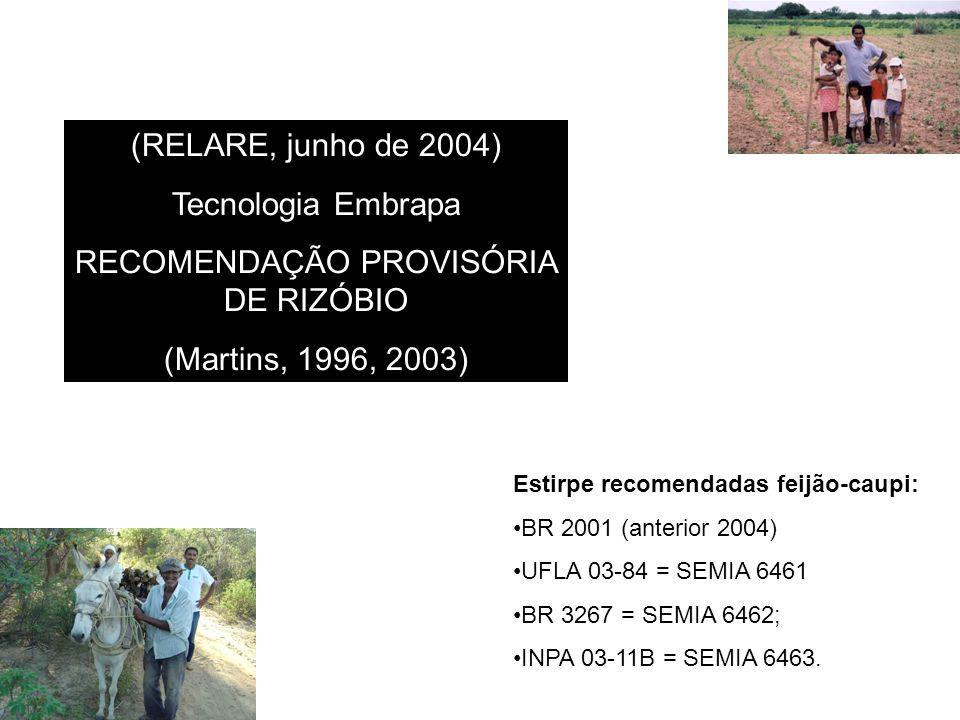 (RELARE, junho de 2004) Tecnologia Embrapa RECOMENDAÇÃO PROVISÓRIA DE RIZÓBIO (Martins, 1996, 2003) Estirpe recomendadas feijão-caupi: BR 2001 (anterior 2004) UFLA 03-84 = SEMIA 6461 BR 3267 = SEMIA 6462; INPA 03-11B = SEMIA 6463.