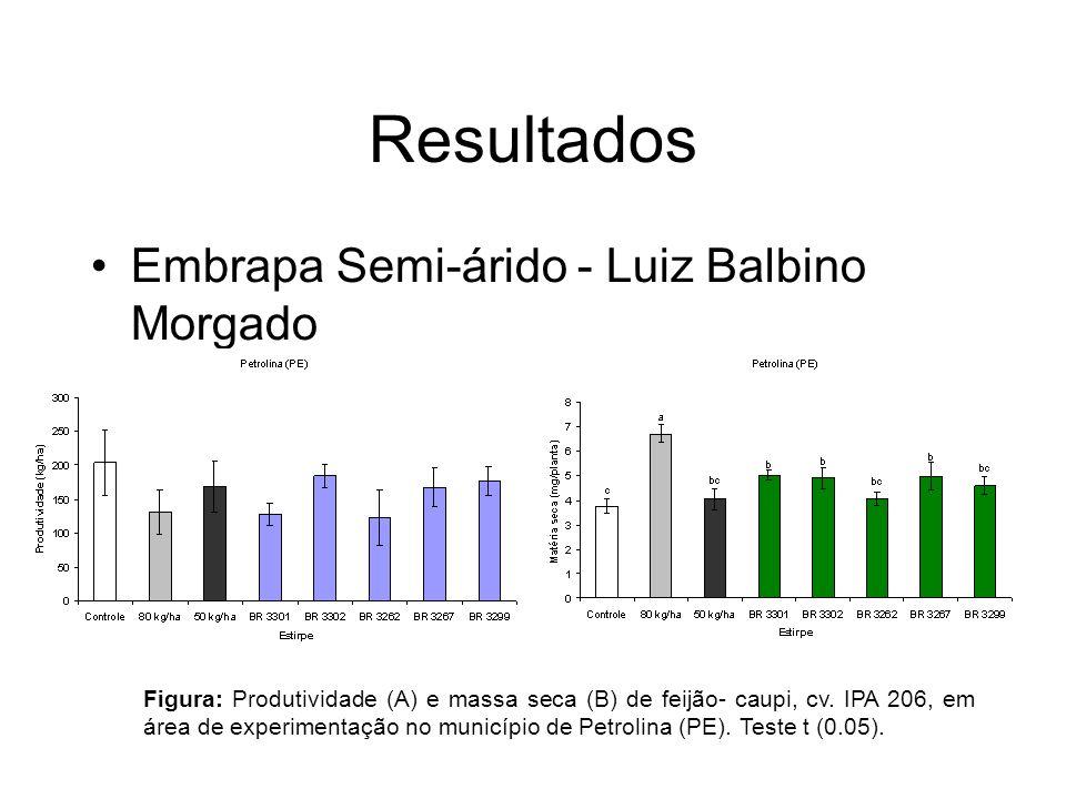Resultados Embrapa Semi-árido - Luiz Balbino Morgado Figura: Produtividade (A) e massa seca (B) de feijão- caupi, cv.