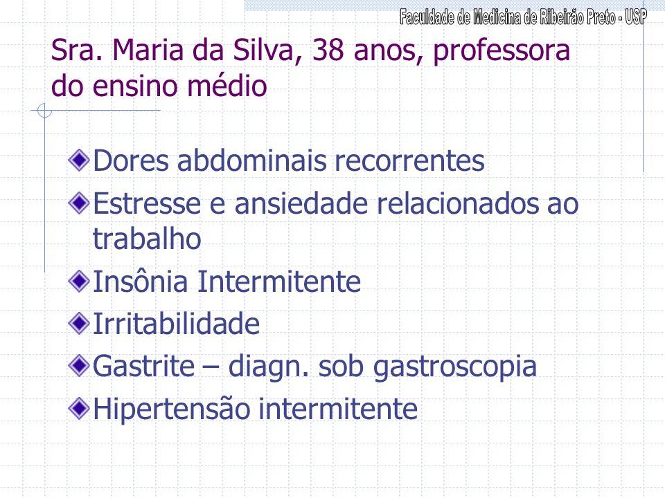 Sra. Maria da Silva, 38 anos, professora do ensino médio Dores abdominais recorrentes Estresse e ansiedade relacionados ao trabalho Insônia Intermiten