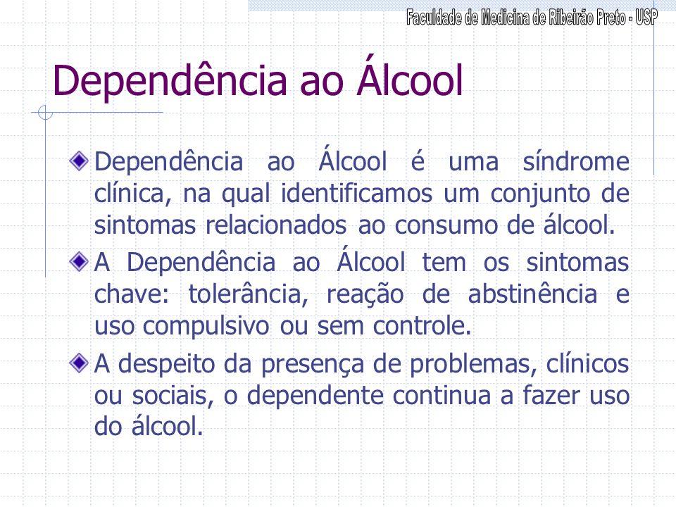 Dependência ao Álcool Dependência ao Álcool é uma síndrome clínica, na qual identificamos um conjunto de sintomas relacionados ao consumo de álcool. A