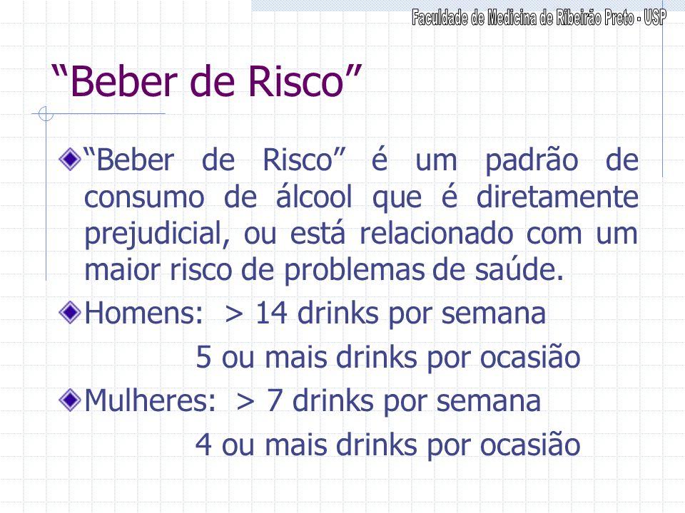 Beber de Risco Beber de Risco é um padrão de consumo de álcool que é diretamente prejudicial, ou está relacionado com um maior risco de problemas de s