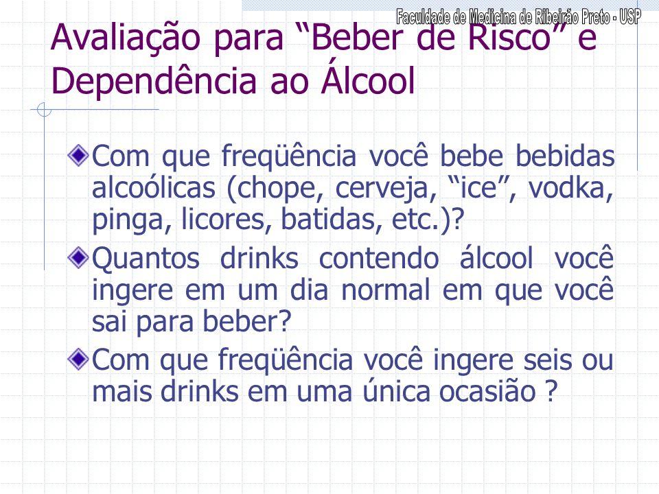 Avaliação para Beber de Risco e Dependência ao Álcool Com que freqüência você bebe bebidas alcoólicas (chope, cerveja, ice, vodka, pinga, licores, bat
