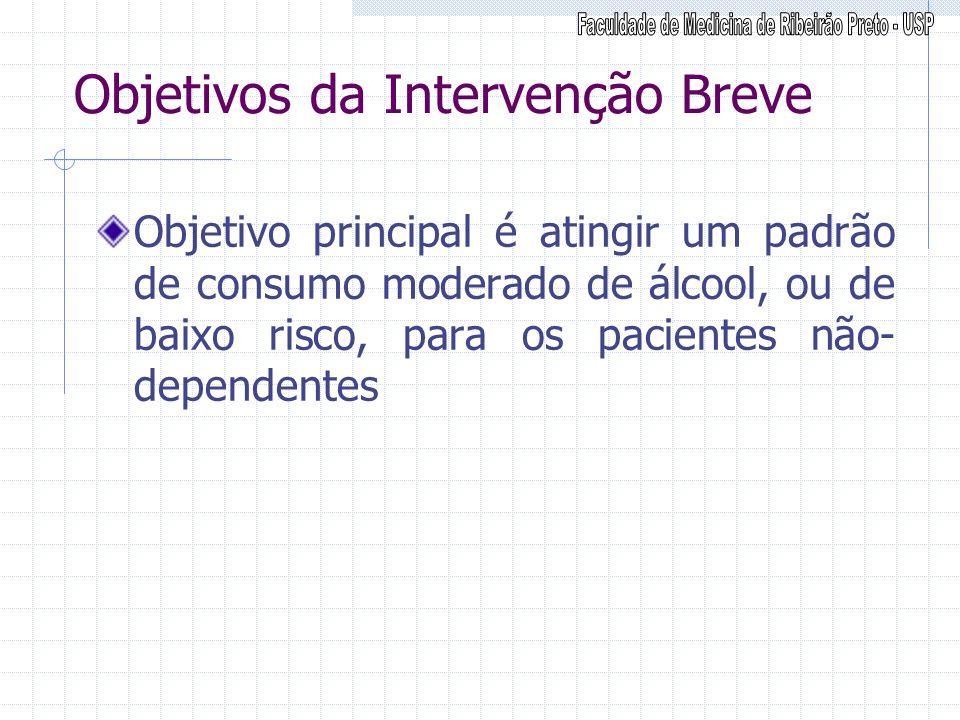 Objetivos da Intervenção Breve Objetivo principal é atingir um padrão de consumo moderado de álcool, ou de baixo risco, para os pacientes não- depende