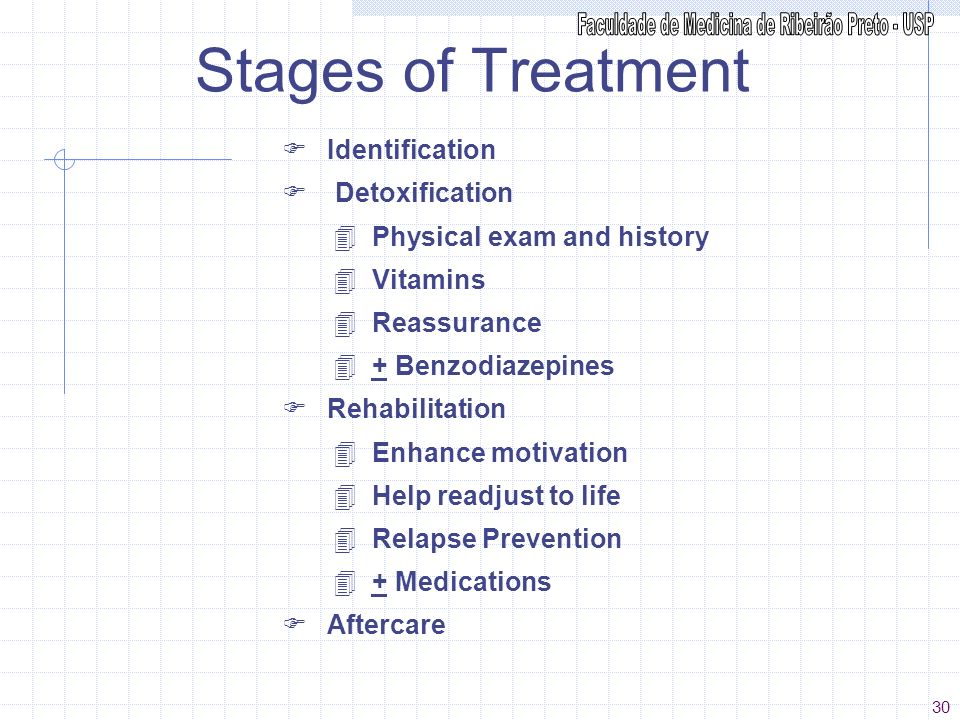 Stages of Treatment F Identification F Detoxification 4 Physical exam and history 4 Vitamins 4 Reassurance 4 + Benzodiazepines F Rehabilitation 4 Enha