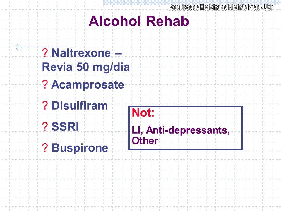 Alcohol Rehab ? Naltrexone – Revia 50 mg/dia ? Acamprosate ? Disulfiram ? SSRI ? Buspirone Not: LI, Anti-depressants, Other