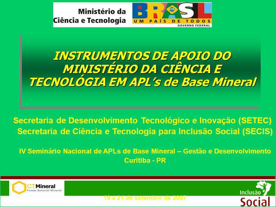 INSTRUMENTOS DE APOIO DO MINISTÉRIO DA CIÊNCIA E TECNOLÓGIA EM APLs de Base Mineral Secretaria de Desenvolvimento Tecnológico e Inovação (SETEC) Secre