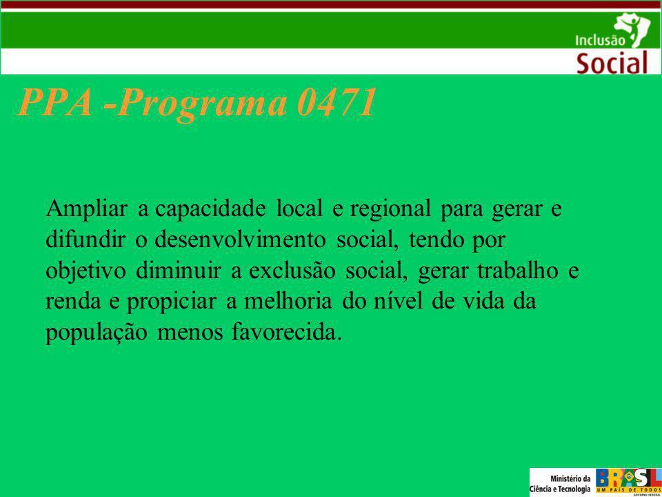 PPA -Programa 0471 Ampliar a capacidade local e regional para gerar e difundir o desenvolvimento social, tendo por objetivo diminuir a exclusão social