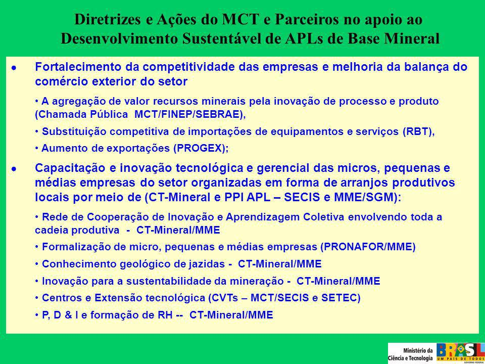 Atuação do MCT e PARCEIROS (2002-2006) F ontes dos Recursos : CT- Mineral (CFEM - Gestão compartilhada – MCT, Finep, CNPq, MME/SGM, DNPM, universidade e setor produtivo) Ações Transversais - Fundos Setoriais Fundo Verde-Amarelo (CIDE - MCT/SECIS) Orçamento do MCT - PPA Programa 0471/09hh - CVTs e APLs (MCT/SECIS) Parcerias Ministério de Minas e Energia (SGM) Ministério Nacional da Integração (SPR) SEBRAE Nacional Recursos investidos no Setor: R$ 18.805.019,08 Executora da ação: FINEP/MCT - Encomenda e Edital MCT (Geconv) - Encomenda