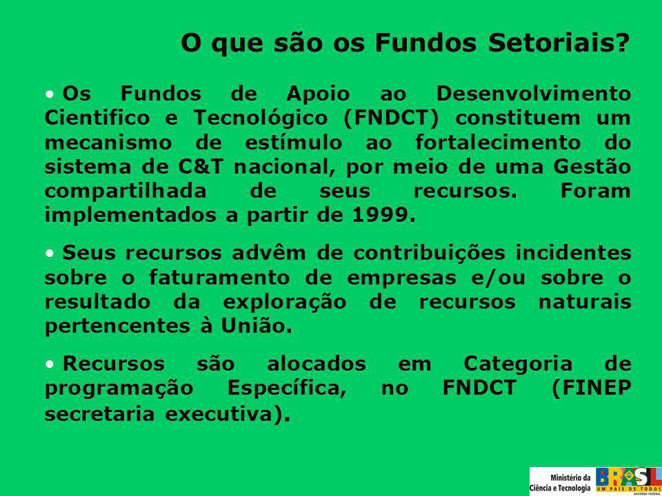 O que são os Fundos Setoriais? Os Fundos de Apoio ao Desenvolvimento Cientifico e Tecnológico (FNDCT) constituem um mecanismo de estímulo ao fortaleci