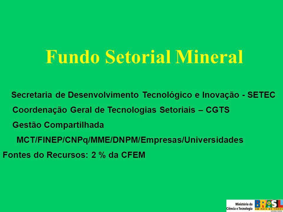 Fundo Setorial Mineral Objetivo: fomentar a formação e capacitação de Recursos Humanos, a pesquisa, o desenvolvimento tecnológico e a inovação para o setor mineral.