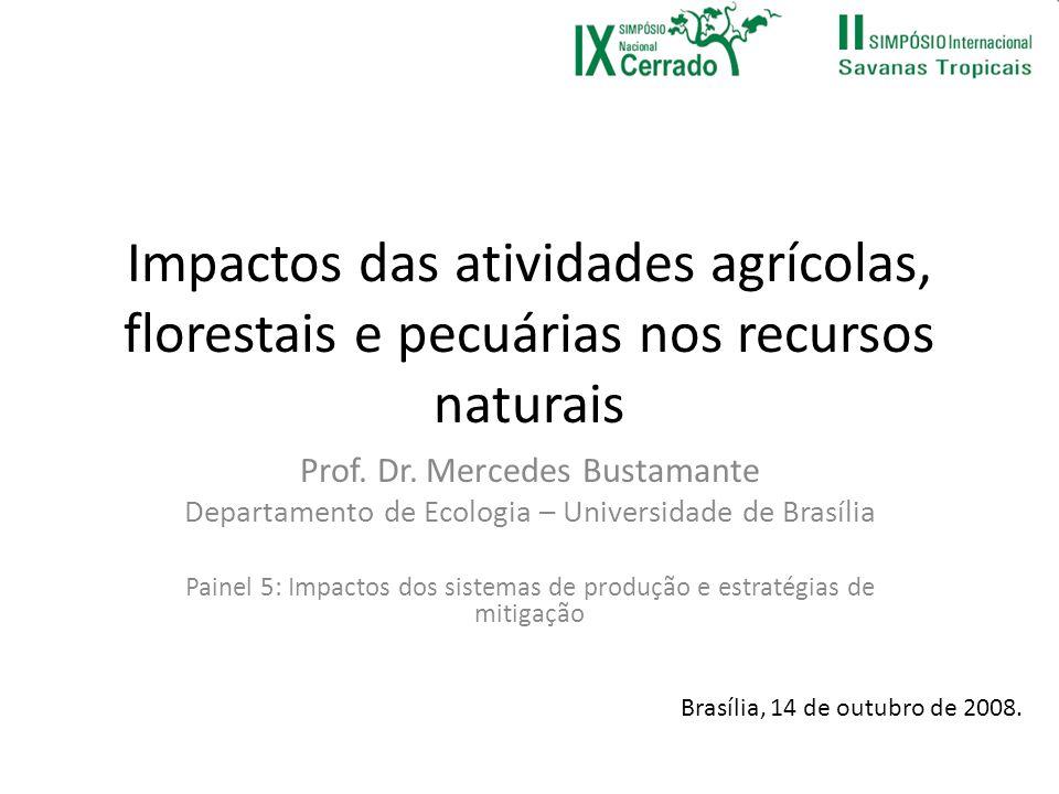 Impactos das atividades agrícolas, florestais e pecuárias nos recursos naturais Prof. Dr. Mercedes Bustamante Departamento de Ecologia – Universidade