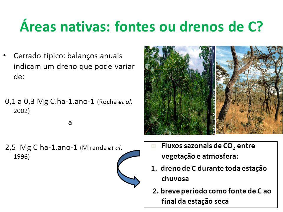 Áreas nativas: fontes ou drenos de C? Cerrado típico: balanços anuais indicam um dreno que pode variar de: 0,1 a 0,3 Mg C.ha-1.ano-1 (Rocha et al. 200