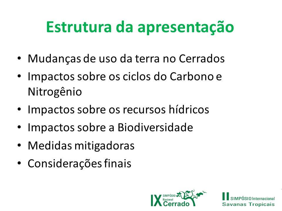 Papel do desmatamento no Cerrado Mudanças na vegetação podem não se converter diretamente em troca de CO 2 com a atmosfera.