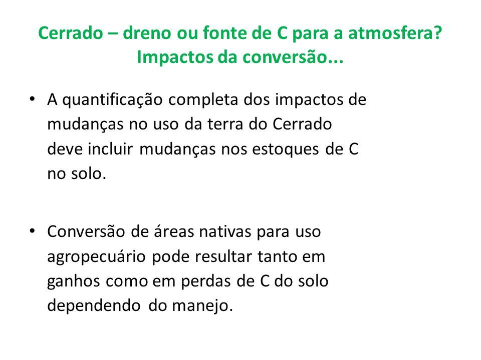 Cerrado – dreno ou fonte de C para a atmosfera? Impactos da conversão... A quantificação completa dos impactos de mudanças no uso da terra do Cerrado