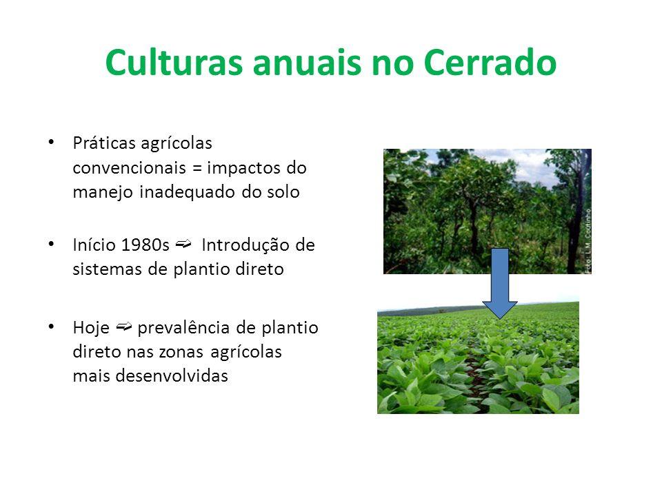Culturas anuais no Cerrado Práticas agrícolas convencionais = impactos do manejo inadequado do solo Início 1980s Introdução de sistemas de plantio dir