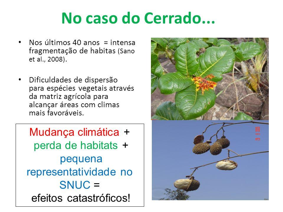 No caso do Cerrado... Nos últimos 40 anos = intensa fragmentação de habitas (Sano et al., 2008). Dificuldades de dispersão para espécies vegetais atra
