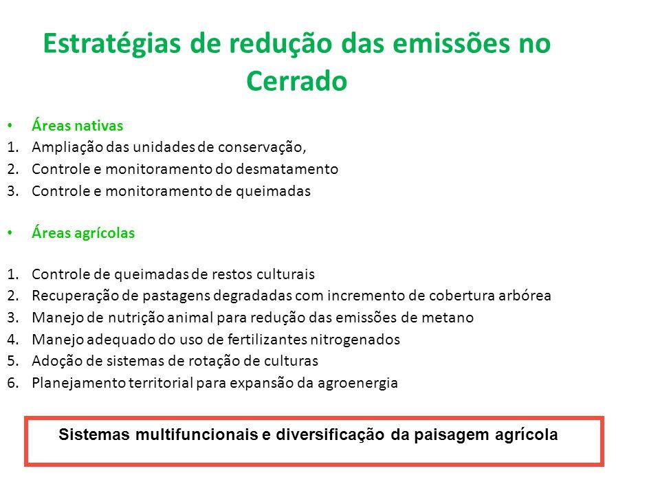 Estratégias de redução das emissões no Cerrado Áreas nativas 1.Ampliação das unidades de conservação, 2.Controle e monitoramento do desmatamento 3.Con