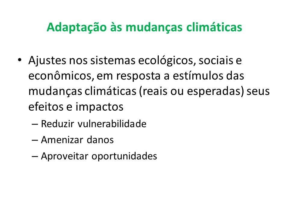 Adaptação às mudanças climáticas Ajustes nos sistemas ecológicos, sociais e econômicos, em resposta a estímulos das mudanças climáticas (reais ou espe