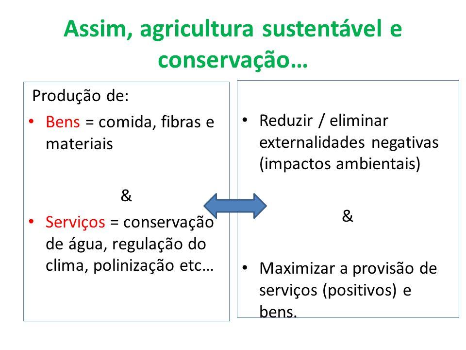 Assim, agricultura sustentável e conservação… Produção de: Bens = comida, fibras e materiais & Serviços = conservação de água, regulação do clima, pol