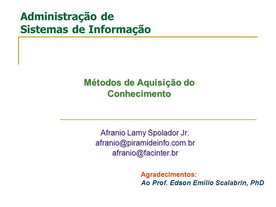 Gestão do Conhecimento Parte II Prof.Afranio Lamy Spolador Jr.