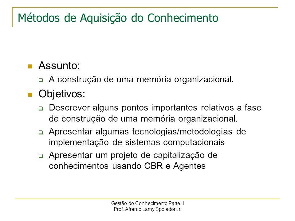 Afranio Lamy Spolador Jr. afranio@piramideinfo.com.brafranio@facinter.br Administração de Sistemas de Informação Métodos de Aquisição do Conhecimento