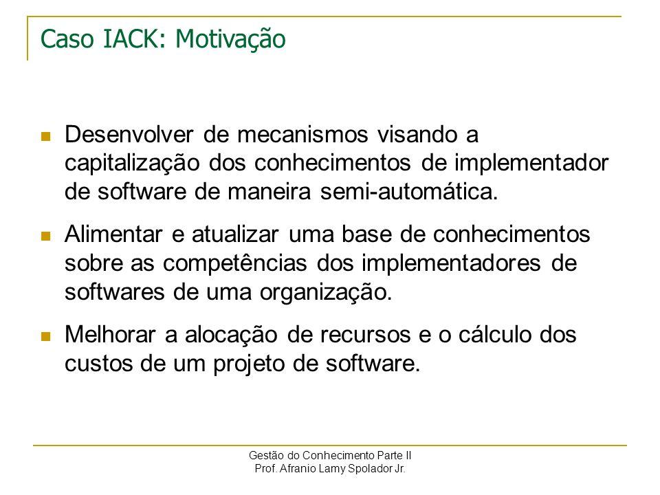 Gestão do Conhecimento Parte II Prof. Afranio Lamy Spolador Jr. Caso IACK Principais atividades : a definição e implementação de um modelo para repres
