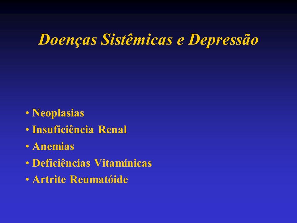 Doenças Sistêmicas e Depressão Neoplasias Insuficiência Renal Anemias Deficiências Vitamínicas Artrite Reumatóide