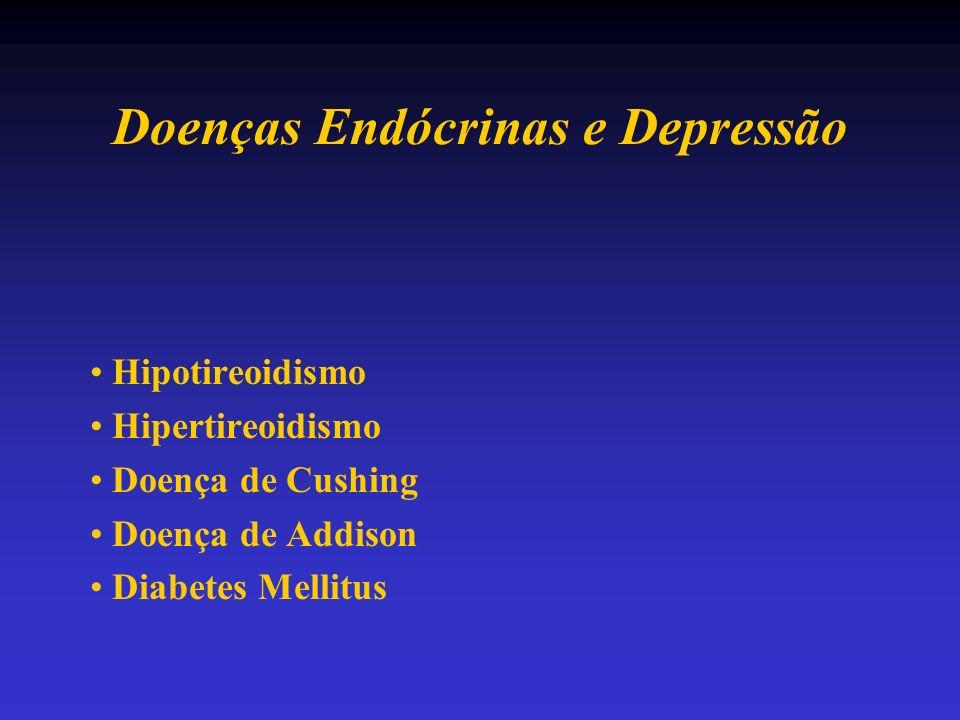 Doenças Endócrinas e Depressão Hipotireoidismo Hipertireoidismo Doença de Cushing Doença de Addison Diabetes Mellitus
