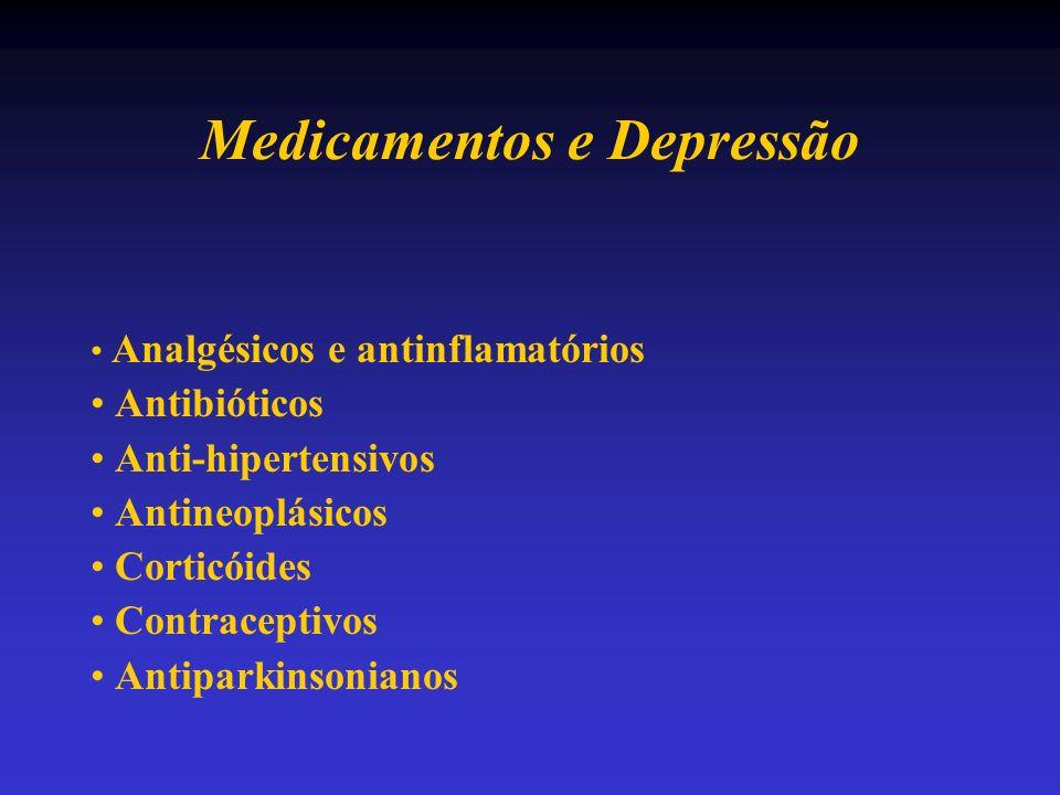 Medicamentos e Depressão Analgésicos e antinflamatórios Antibióticos Anti-hipertensivos Antineoplásicos Corticóides Contraceptivos Antiparkinsonianos