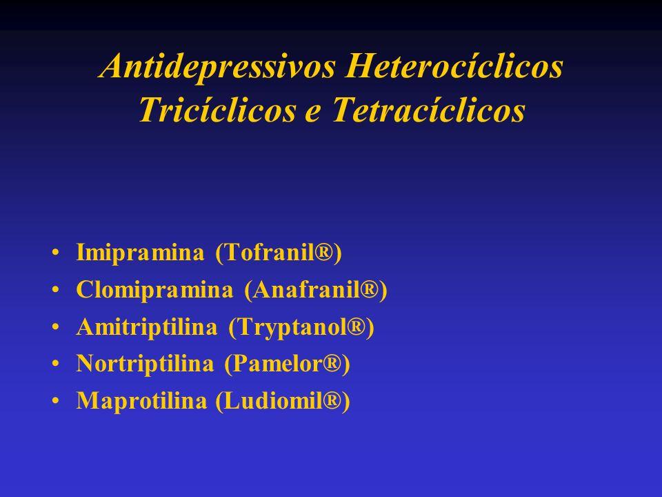 Antidepressivos Heterocíclicos Tricíclicos e Tetracíclicos Imipramina (Tofranil®) Clomipramina (Anafranil®) Amitriptilina (Tryptanol®) Nortriptilina (