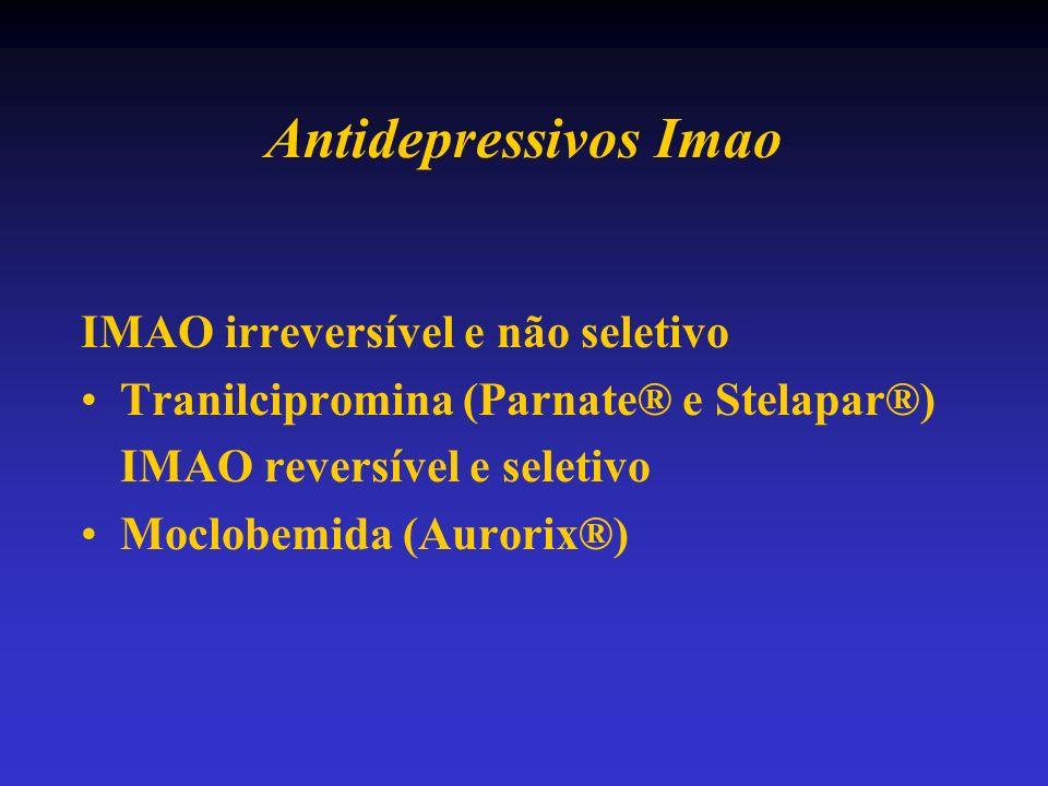 Antidepressivos Imao IMAO irreversível e não seletivo Tranilcipromina (Parnate® e Stelapar®) IMAO reversível e seletivo Moclobemida (Aurorix®)
