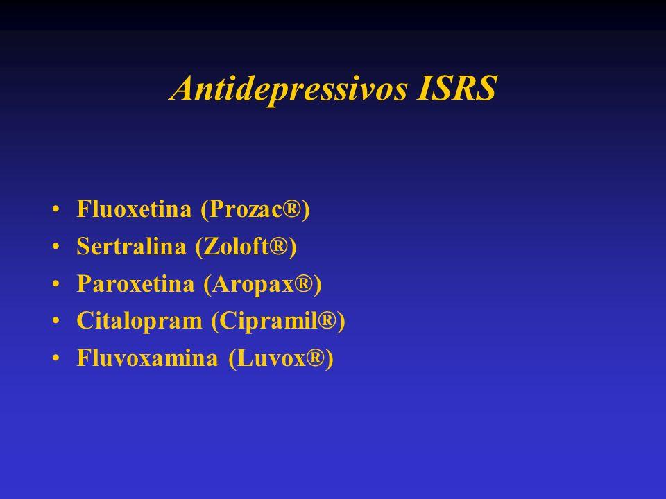 Antidepressivos ISRS Fluoxetina (Prozac®) Sertralina (Zoloft®) Paroxetina (Aropax®) Citalopram (Cipramil®) Fluvoxamina (Luvox®)