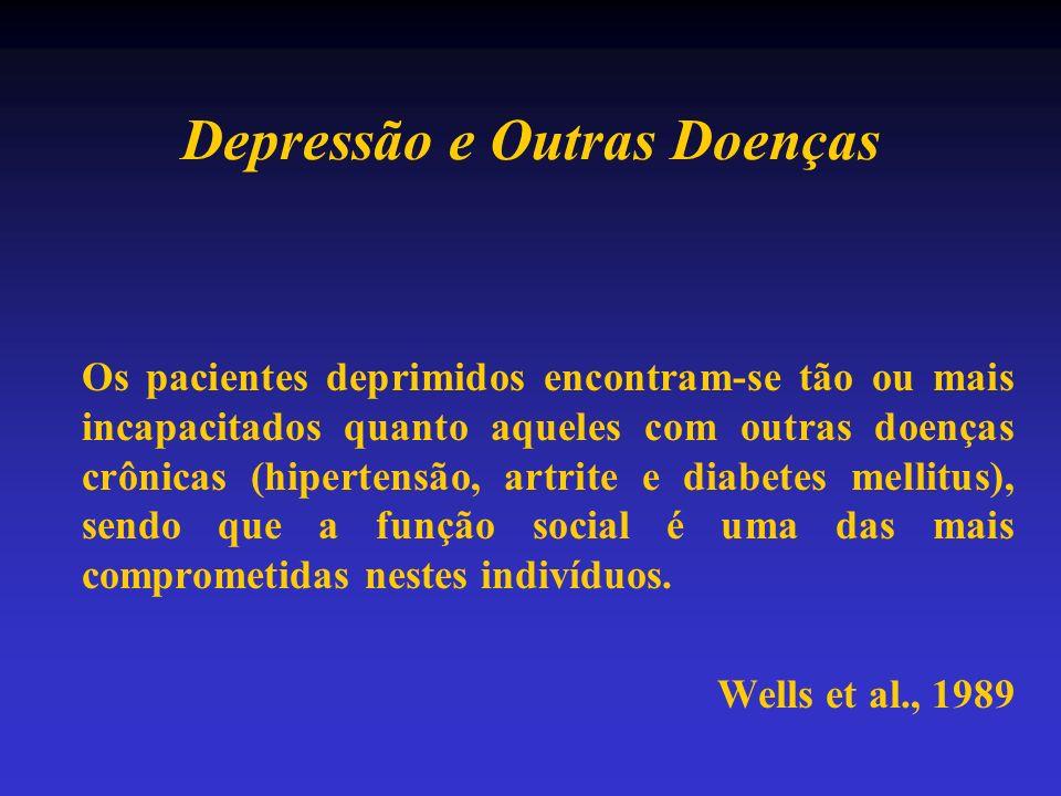 Depressão e Outras Doenças Os pacientes deprimidos encontram-se tão ou mais incapacitados quanto aqueles com outras doenças crônicas (hipertensão, art