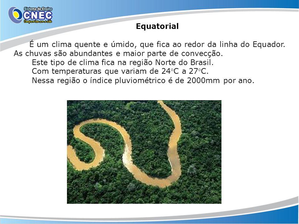 Equatorial É um clima quente e úmido, que fica ao redor da linha do Equador. As chuvas são abundantes e maior parte de convecção. Este tipo de clima f