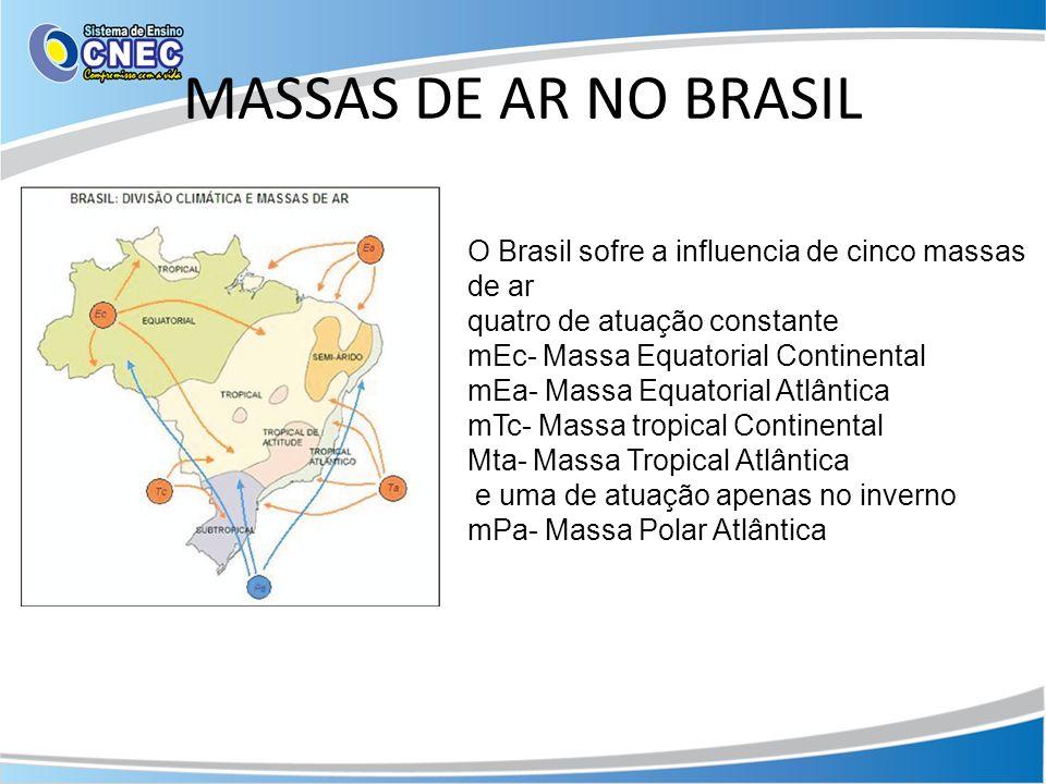 MASSAS DE AR NO BRASIL O Brasil sofre a influencia de cinco massas de ar quatro de atuação constante mEc- Massa Equatorial Continental mEa- Massa Equatorial Atlântica mTc- Massa tropical Continental Mta- Massa Tropical Atlântica e uma de atuação apenas no inverno mPa- Massa Polar Atlântica