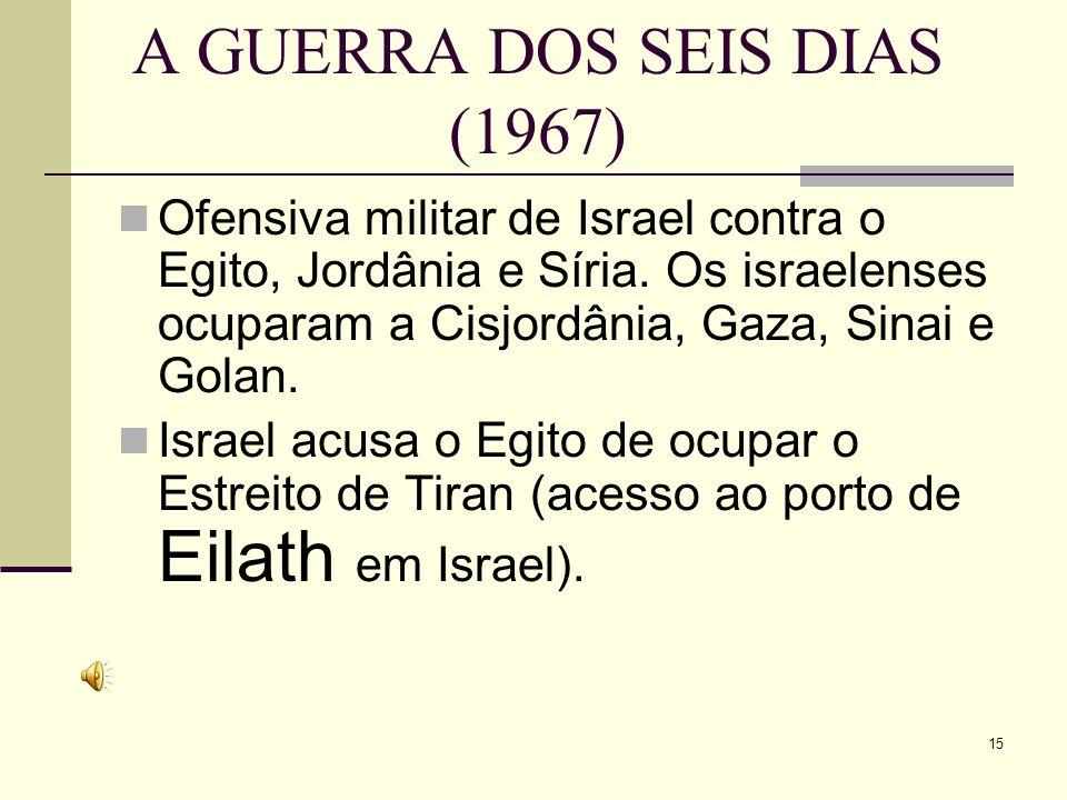 A GUERRA DOS SEIS DIAS (1967) Ofensiva militar de Israel contra o Egito, Jordânia e Síria.