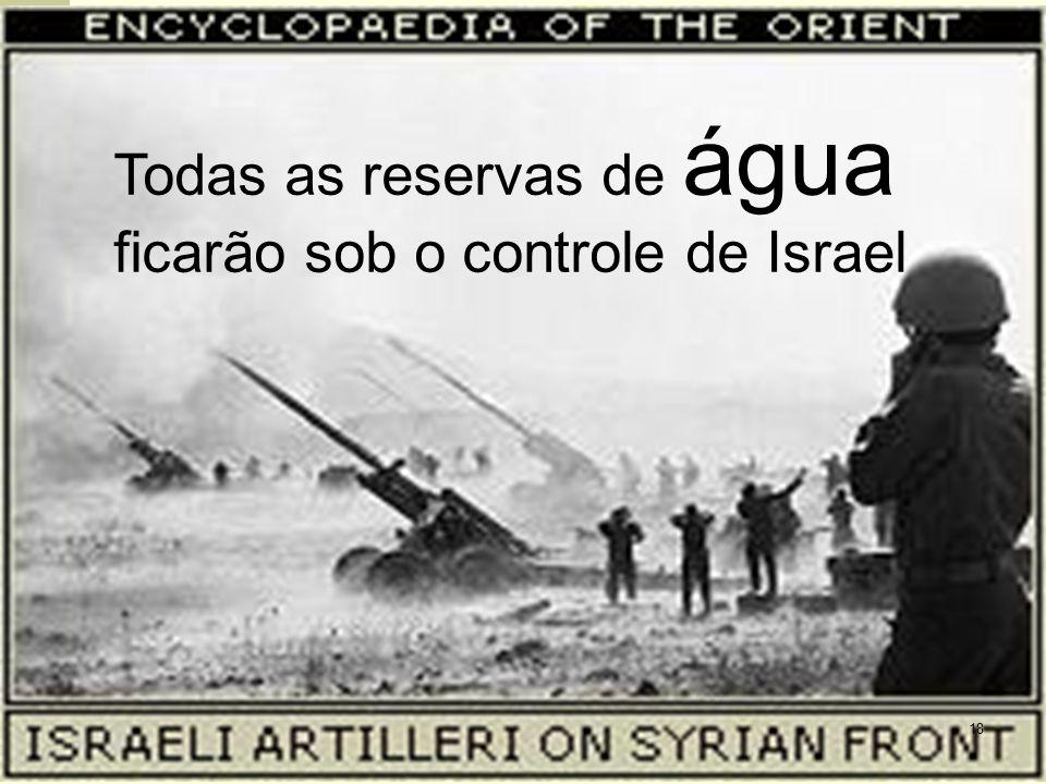 Todas as reservas de água ficarão sob o controle de Israel 18