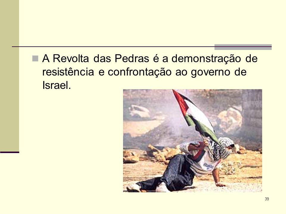 A Revolta das Pedras é a demonstração de resistência e confrontação ao governo de Israel. 39