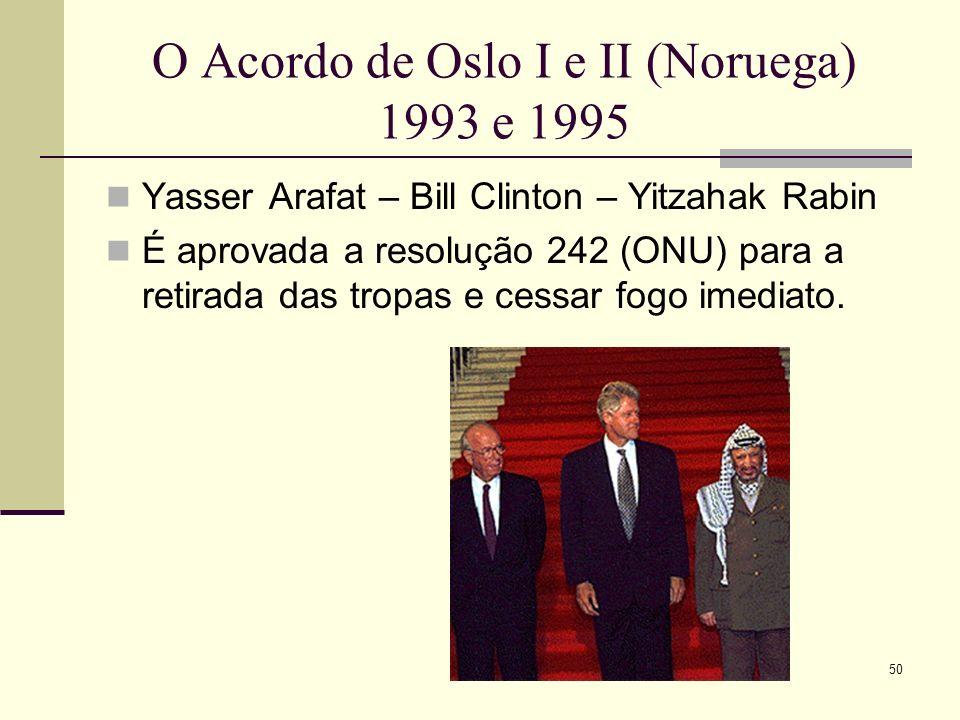 O Acordo de Oslo I e II (Noruega) 1993 e 1995 Yasser Arafat – Bill Clinton – Yitzahak Rabin É aprovada a resolução 242 (ONU) para a retirada das tropas e cessar fogo imediato.