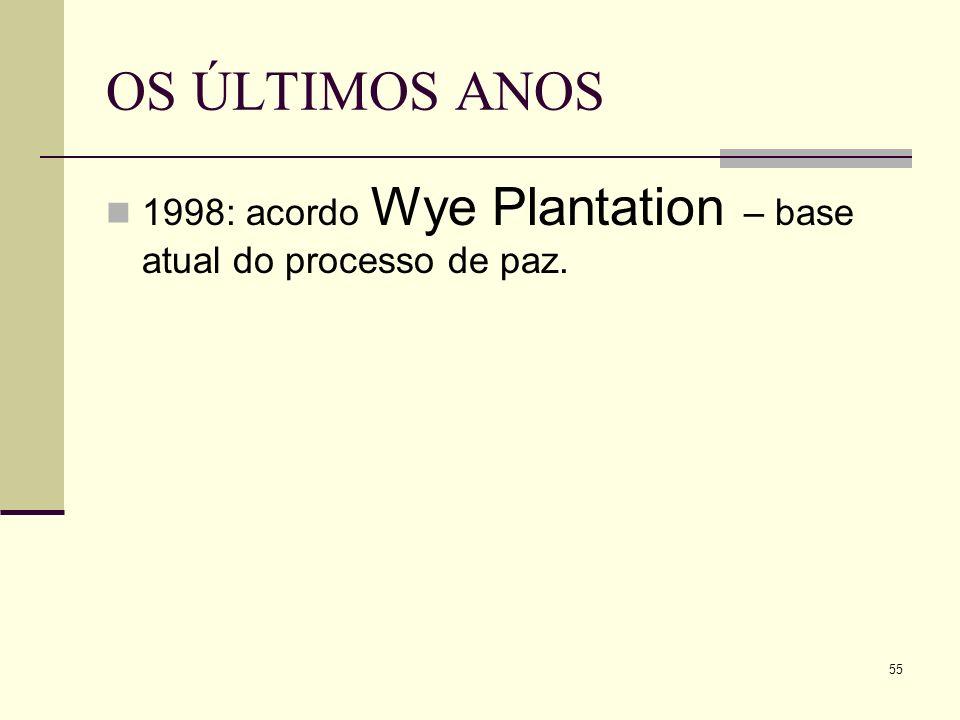 OS ÚLTIMOS ANOS 1998: acordo Wye Plantation – base atual do processo de paz. 55