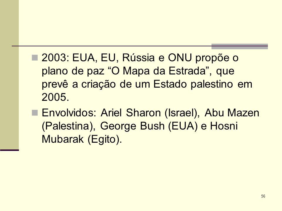 2003: EUA, EU, Rússia e ONU propõe o plano de paz O Mapa da Estrada, que prevê a criação de um Estado palestino em 2005.